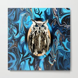 Burn the Midnight Owl Metal Print
