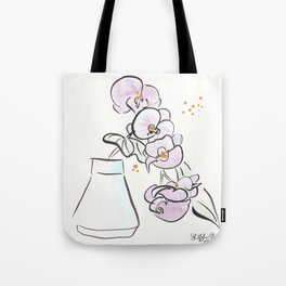 Purple Orchid Flowers with Aqua Vase bold Tote Bag