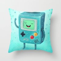 game Throw Pillows featuring Game Beemo by Lime