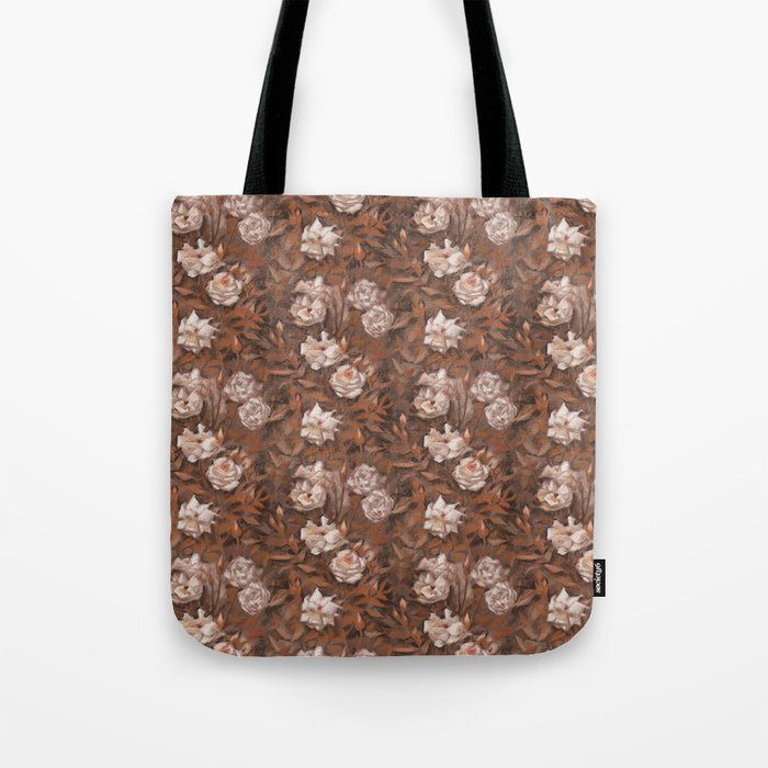 """""""White roses"""" hand drawn vintage floral pattern in earth colors Tote Bag"""