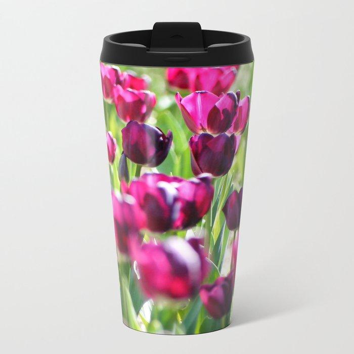 purple tulips Metal Travel Mug