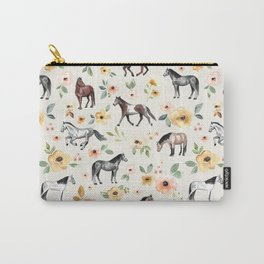 Horses and Flowers, Sunrise Floral, Cream, Horse Print, Horse Illustration, Pink and Yellow, Equestrian, Little Girls Carry-All Pouch