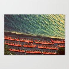 Colorful Beach Umbrellas in Amalfi, Italy Canvas Print