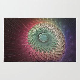 Abstract And Colorful Snail, Fractal Art Rug