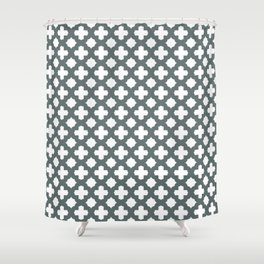 Stars & Crosses Pattern: Dark Grey Shower Curtain