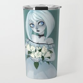 Luna holding Moonflowers Travel Mug