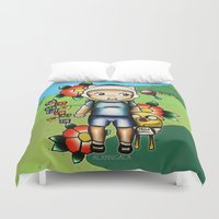 finn and jake Duvet Covers featuring Finn the Kewpie and Jake the puppy by alxbngala