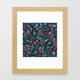 Asian-Inspired Peacock Feathers and Floral Pattern Framed Art Print