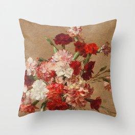 Henri Fantin Latour - Carnations Without Vase Throw Pillow