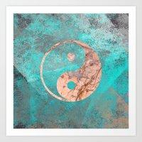 Yin Yang - Rose Turquoise Marble Art Print