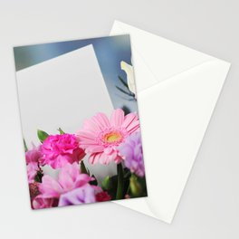 Flowers and a White Sheet of Paper Stationery Cards