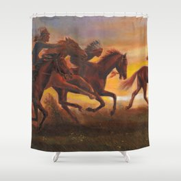 American Natives Riding On Horses Shower Curtain