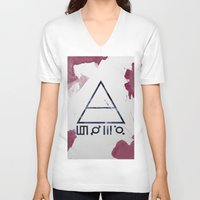 30 seconds to mars V-neck T-shirts featuring 30 Seconds of Mars Watercolor by sky0323