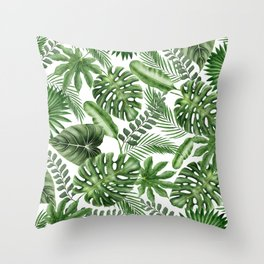 Tropical Leaves Pattern - Monstera and Banana Leaves Throw Pillow
