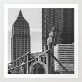 Pittsburgh City Skyline Closeup Bridge Black And White Gift Ideas Art Print