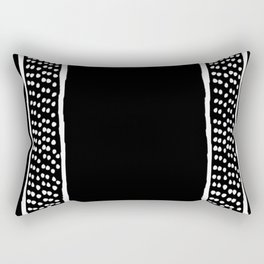 Dots Between Two Lines - Black -  Serie Boho Rectangular Pillow