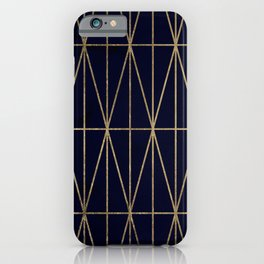 Modern gold geometric triangles pattern navy blue watercolor iPhone Case
