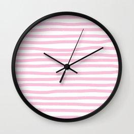 Pink Stripes Horizontal Wall Clock