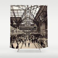 liverpool Shower Curtains featuring Liverpool Station by Roxana Lazăr