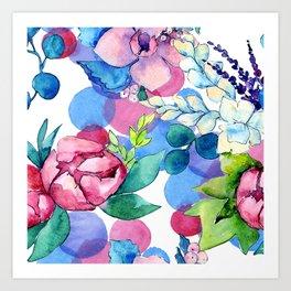 Graceful Watercolor Floral Pastel Art Print Art Print