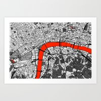 london map Art Prints featuring London Map by Dizzy Moments
