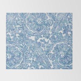 Blue Boho Paisley Pattern II Throw Blanket
