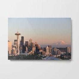 Seattle Skyline at Sunset Metal Print
