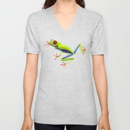 Exotic Frog Red Eyed Frog Watercolor Cute Frog Unisex V-Neck