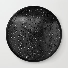 Black and White Rain Drops; Abstract Wall Clock