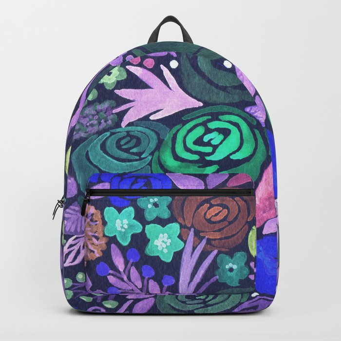 Watercolor . French cake in the colors . Backpack