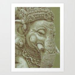 Ganesh green Art Print