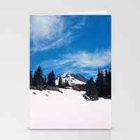 robin hood Stationery Cards featuring Mt. Hood by Leah Flores