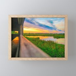 Sunset at The Fens, Norfolk, U.K Framed Mini Art Print