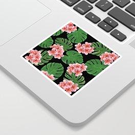 Tropical Floral Print Black Sticker