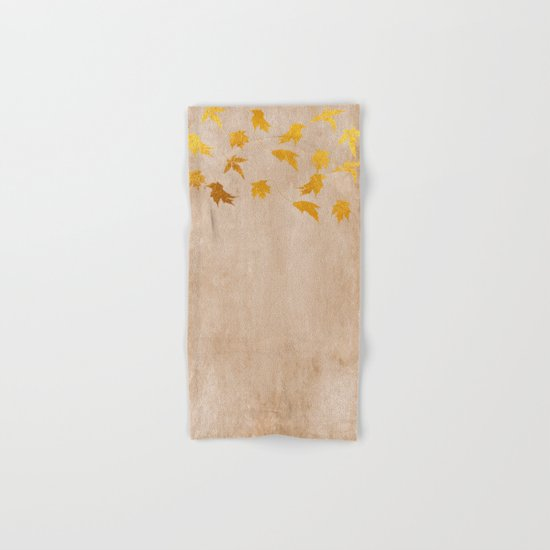 Gold leaves on grunge backround - Autumn design Hand & Bath Towel