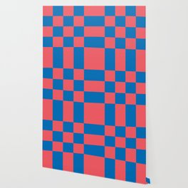 retro classic blue-and-red plaid Liderc Wallpaper