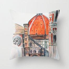 Florence Italy illustration, Firenze duomo Throw Pillow