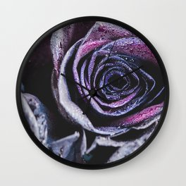 Macro photography of purple - neon roses with raindrops. Fantasy and magic concept. Selective focus. Wall Clock