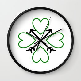 St. Patrick's Day Shamrock Lucky Charm Green Clover Veart with Arrows Wall Clock