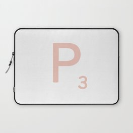 Pink Scrabble Letter P - Scrabble Tile Art and Accessories Laptop Sleeve