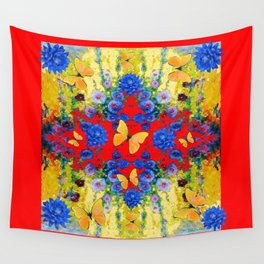 RED GARDEN  BLUE FLOWERS YELLOW BUTTERFLIES Wall Tapestry
