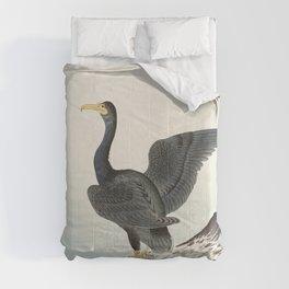 Cormorants at stormy sea - Japanese vintage woodblock print art Comforters