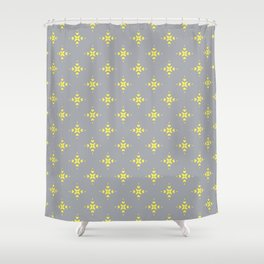 Ornamental Pattern with Grey and Lemon Yellow Colourway Shower Curtain