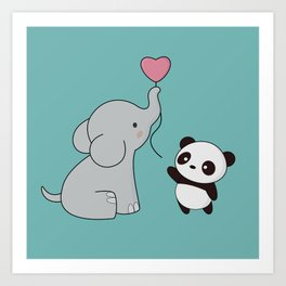 Kawaii Cute Elephant and Panda Art Print