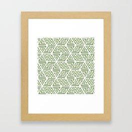 Green Shadowed Triangles Framed Art Print