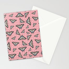 Butterflies and dots - pink Stationery Cards