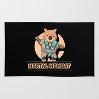 the mortal instruments Area & Throw Rugs featuring Mortal Wombat by Sombras Blancas Art & Design