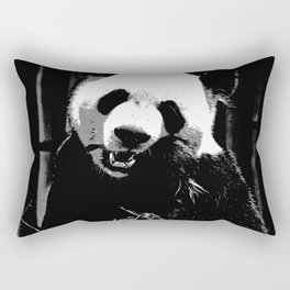 Cute Giant Panda Bear with tasty Bamboo Leaves Rectangular Pillow