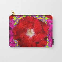 Tropical Red Hibiscus & Fuchsia Florals Green Color Carry-All Pouch