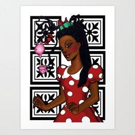 Polka dots and tea Art Print
